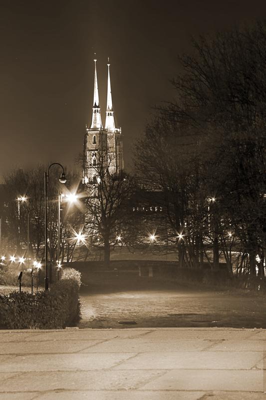 Katedra Wrocław w nocy - numer katalogowy fototapety W_2266